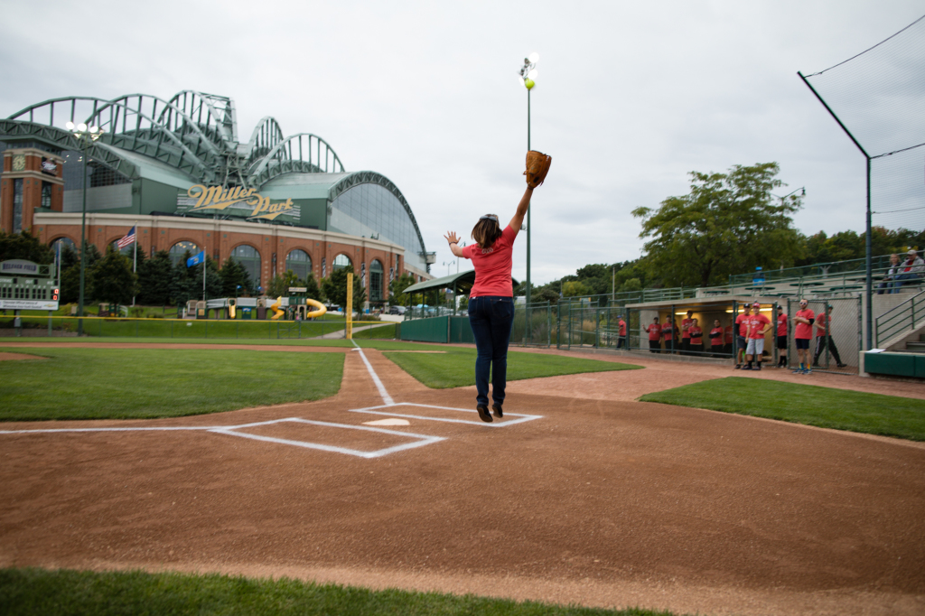 06 Laura Gainor, Executive Director of United Adworkers, attempts to catch first pitch